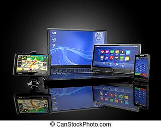 electronics., laptop, handy, tablette pc, und, gps