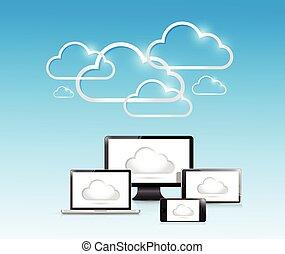 electronics., nuage, calculer