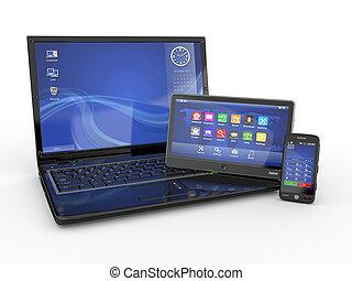 electronics., ordinateur portable, téléphone portable, et, pc tablette