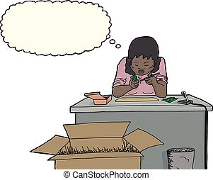 Electronics Worker at Desk