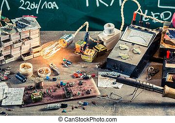 Electronics workshop in physics lab
