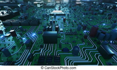 Electrons Moving Fast on Circuit Board From CPU. Flying Inside CPU Into Cyberspace. Abstract 3d Animation of Processor Structure and Card Parts. Digital Concept. 4k UHD 3840x2160.