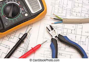 electroreplacement, werkzeuge, auf, der, zeichnung