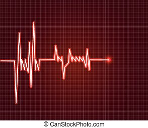 Electrowave heart beat, cardiogram. Pulse icon