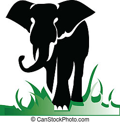 elefánt, egyedül, ábra