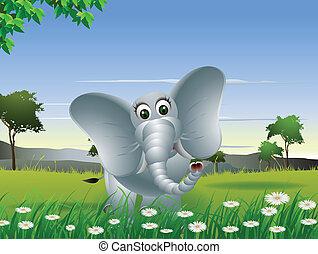 elefánt, erdő, karikatúra
