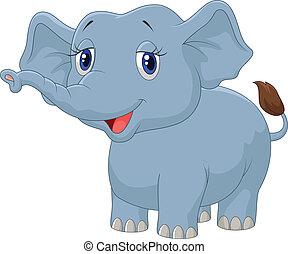 elefánt, karikatúra, fiatal