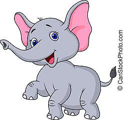 elefánt, karikatúra, tánc