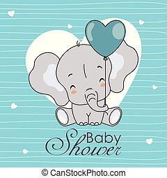 elefant, blauwe achtergrond, schattig, hartjes