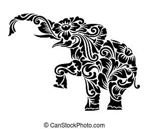 elefant, blomstrede, ornamentere, dekoration