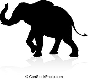 elefant, dier, silhouette