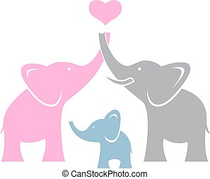 elefant, family., symbool, of, logo