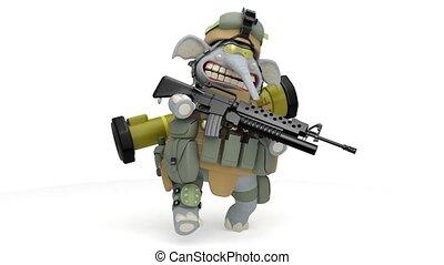 elefant, infantryman, spaziergänge, mit, a, gewehr,...