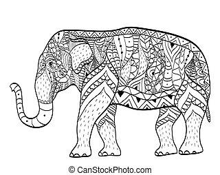 elefant, kleurend boek, vector, voor, volwassenen