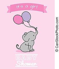 elefant, met, ballons