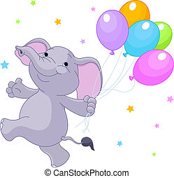 elefant, mit, luftballone
