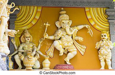 elefant statue, an, der, hinduistischer tempel