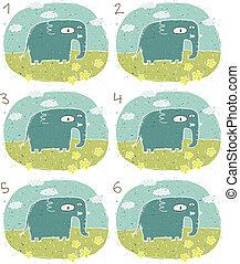 elefant, visueel, spel