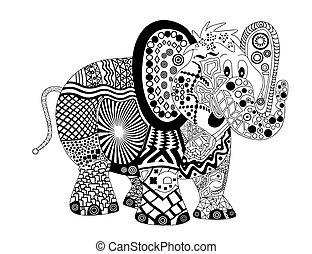 elefant, zentangle