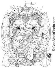 elefante, adulto, colorido, página