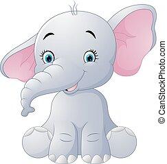 elefante, bambino sedendo, isolato, carino