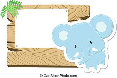 elefante bebé, tabla signo