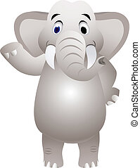 elefante, caricatura, com, mão, waving
