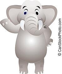 elefante, caricatura, con, mano, ondulación