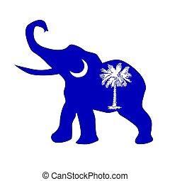 elefante, carolina sud, repubblicano, bandiera