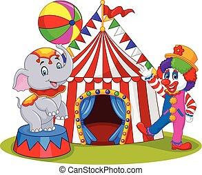 elefante circo, e, pagliaccio