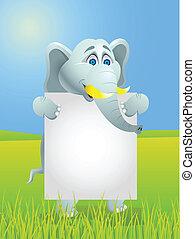 elefante, com, sinal branco