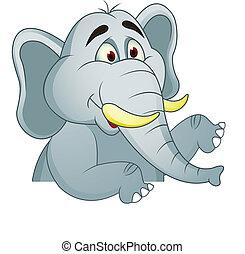 elefante, con, muestra en blanco