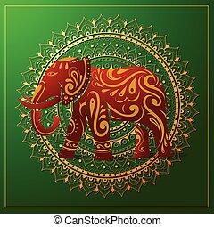 elefante, con, oriente, ornamento