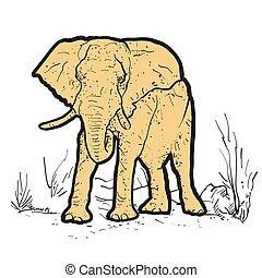 elefante, contorno, puntos, coloreado, amarillo