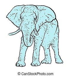elefante, contorno, puntos, coloreado, azul