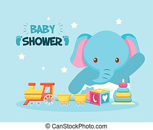 elefante, doccia, scheda, bambino