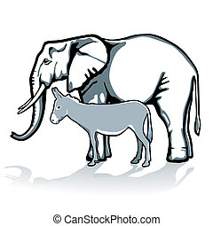 elefante, e, burro