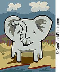 elefante, em, um, rio