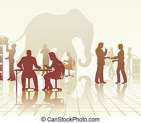 elefante, en, la oficina