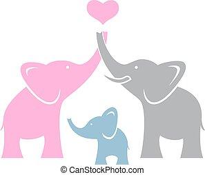 elefante, family., símbolo, o, logotipo