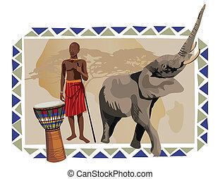 elefante, hombre africano