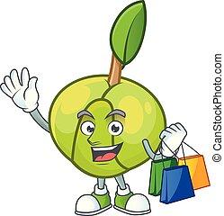 elefante, mascotte, dolce, mela, shopping, cartone animato