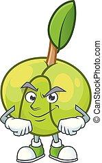 elefante, mascotte, smirking, dolce, mela, cartone animato