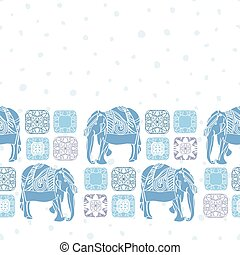 elefante, popolo, border., vendemmia, boho, arte