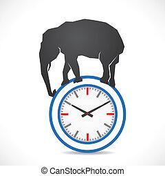 elefante, reloj