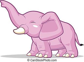 elefante, su, levantar, tronco