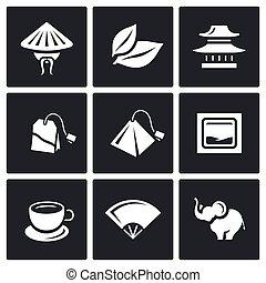 elefante, vector, china, templo, ceremonia, taza, conjunto, hoja té, teabag, icons.