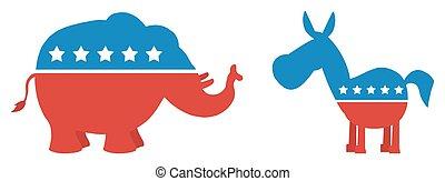 elefante, vs, burro, ilustração