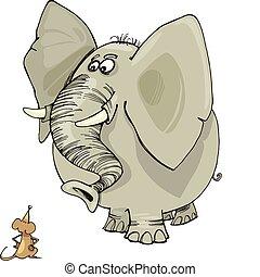 elefante, y, ratón
