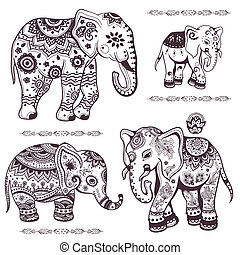 elefanten, ethnisch, satz, hand, gezeichnet